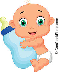 Cute baby cartoon holding milk bot - Vector illustration of...