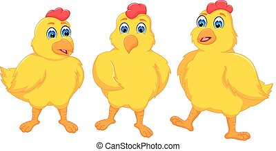 cute baby chicken cartoon standing with smiling
