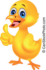 Cute baby chicken cartoon with thum