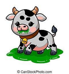 Cute baby cow cartoon eating grass