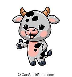 Cute baby cow cartoon giving thumb up