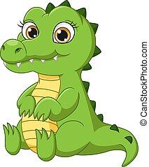 Cute baby crocodile cartoon sitting