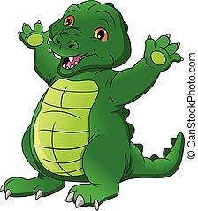 cute baby crocodile cartoon waving