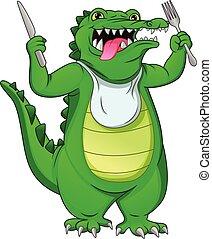 cute baby crocodile holding culery