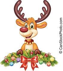 Cute baby deer with Christmas