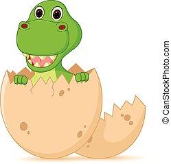 Vector Illustration of Cute baby dinosaur cartoon hatch