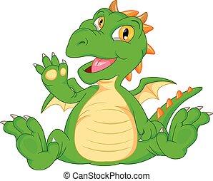 Cute baby dinosaur cartoon waving