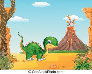 Cute baby dinosaur posing