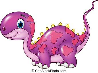 Cute baby dinosaur posing. Isolated - Vector illustration of...