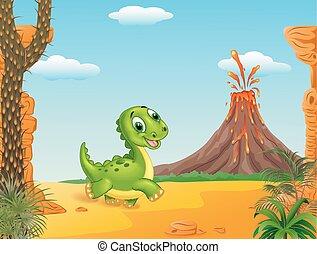 Cute baby dinosaur running