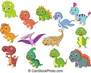 Cute baby dinosaurs collection - Vector illustration of Cute...