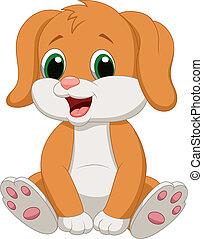 Vector illustration of Cute baby dog cartoon
