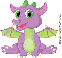 Cute baby dragon cartoon - Vector illustration of Cute baby ...