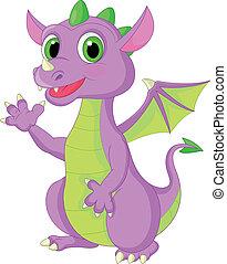 Cute baby dragon cartoon waving - Vector illustration of ...