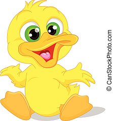 Cute baby duck cartoon - vector illustration of Cute baby...