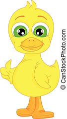 Cute baby duck cartoon thumb up