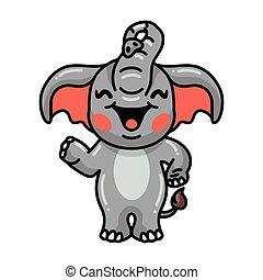 Cute baby elephant cartoon waving hand