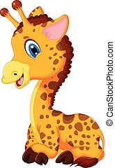 cute baby giraffe cartoon sitting