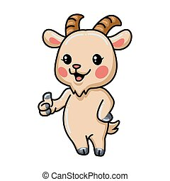 Cute baby goat cartoon giving thumb up