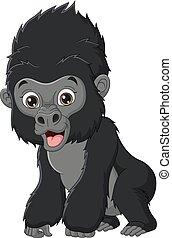 Cute baby gorilla cartoon isolated on white background