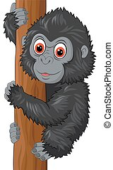 Cute baby gorilla climbing tree - Vector illustration of...