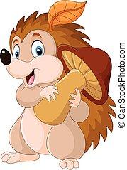 Cute baby hedgehog holding mushroom - Vector illustration of...