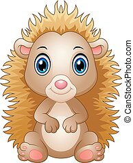 Cute baby hedgehog sitting isolated on white background