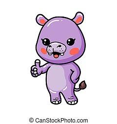 Cute baby hippo cartoon giving thumb up
