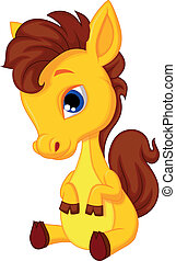 Cute baby horse cartoon