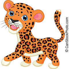 Cute baby leopard cartoon - Vector illustration of Cute baby...