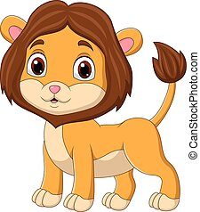Cute baby lion cartoon isolated on white background