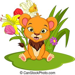 Cute baby lion cartoon sitting in the grass