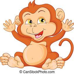cute baby monkey cartoon waving