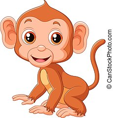 Cute baby monkey - Vector illustration of Cute baby monkey