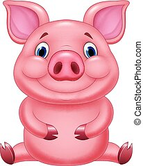 Cute baby pig cartoon sitting