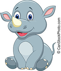Cute baby rhino cartoon - Vector illustration of Cute baby...