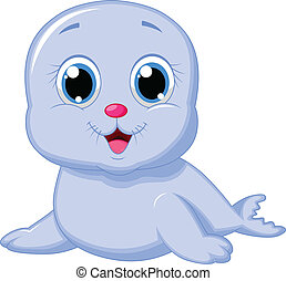Cute baby seal cartoon - Vector illustration of Cute baby...