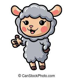 Cute baby sheep cartoon giving thumb up