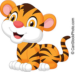 Cute baby tiger cartoon - Vector illustration of Cute baby...