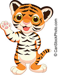 Cute baby tiger cartoon waving