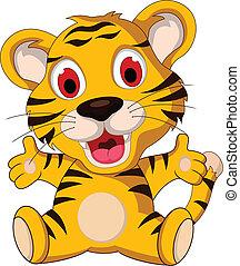 cute baby tiger posing - vector illustration of cute baby...