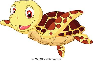 Vector Illustration Of Cute Baby Turtle Cartoon