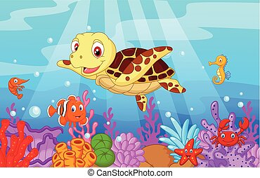Cute baby turtle cartoon with colle