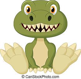 Cute baby tyrannosaurus cartoon - Vector illustration of...