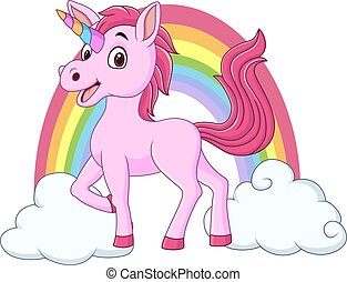 Cute baby unicorn with clouds and rainbow