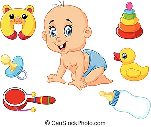 Cute baby with baby toys collection