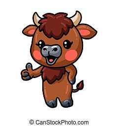 Cute baby yak cartoon giving thumb up