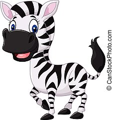 Cute baby zebra posing isolated - Vector illustration of...