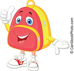 Cute bag cartoon with thumb up