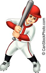 cute baseball player cartoon standing with laughing and...